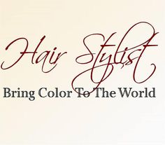 """Hair Stylist Bring Color to the world Medium 16""""H x 32""""W- Vinyl Wall Decal-Beauty Salon Shop Wall Decal Lettering-Wall Art-Wall Decor"""
