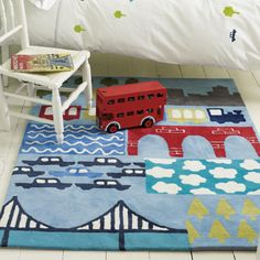 Going Places rug from Designers Guild - Zac loves Transportation Room, Creative Kids Rooms, Kids Area Rugs, Kids Decor, Home Decor, Baby Decor, Designers Guild, Boy Room, Child's Room