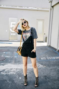 Smashbox Studios   outfit   grunge   wearing short black dungarees from Madewell, edgy sandals from Vic Matie   Rock'n Roll style   fashion Los Angeles