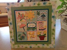 This is the spring Shadowbox Jean and I made.  The only thing that is not Stampin' Up! is the green glitter paper.