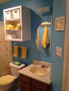REN Rubber Duck Themed Bathroom Repurposed Shelf From Thrift - Oversized towels for small bathroom ideas
