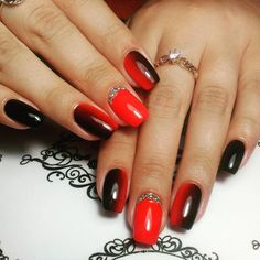 Who said that only dark or pastel manicure can be decorated diamonds? Bright red nails with rhinestones is the design for the queen! See the best ideas about rhinestones on red nails. Red And Gold Nails, Bright Red Nails, Glitter Gel Nails, Matte Nails, Silver Grey Hair, Gel Nail Colors, Pastel, Rhinestone Nails, White Glitter