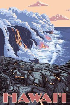 The Big Island, Hawaii - Lava Flow Scene - Lantern Press Poster ~ Vintage Travel Poster National Park Posters, Us National Parks, Parc National, Hawaii Volcanoes National Park, Volcano National Park, Big Island Hawaii, Big Island Volcano, Island Blue, Hawaii Vintage