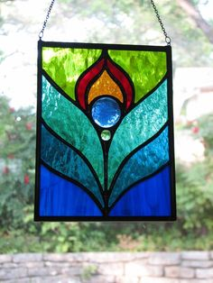 Peacock Feather Stained Glass Suncatcher