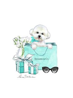 It's a great gift for any Bichon and Tiffany lover. Bichon Frise, Bichon Dog, Cute Dogs Breeds, Dog Breeds, Dog Illustration, Illustrations, Fashion Wall Art, Funny Tattoos, Bff Pictures
