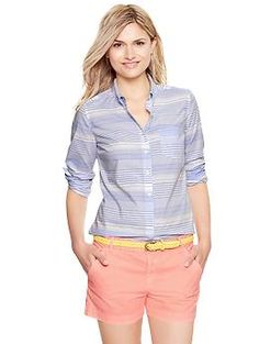 This is how we are wearing color this season.  We love the sherbet shorts, topped with a sunny yellow belt and a soft blue striped button down.  We would wear this look to the office on casual Friday with a pair of Cobb Hill flats.  (via @Gap www.gap.com)