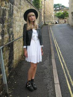 Shop this look on Kaleidoscope (dress, jacket, hat)  http://kalei.do/WzV3XrLAiwOH05hC