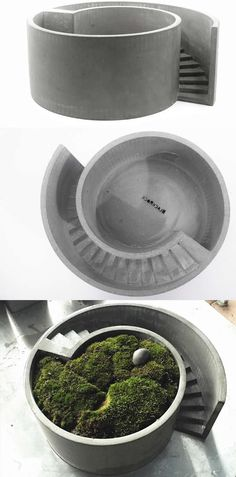 Handmade Concrete Round Stair Architectural Succulent Planter Flower Pot