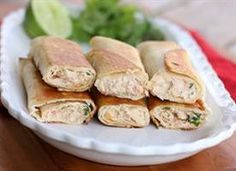 Taquitos filled with a creamy chicken mixture and browned until crispy.  8 large taquitos