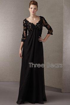 Aliexpress.com: Comprar Elegante madre de la novia vestido más tamaño Formal de tres cuartos de encaje negro apliques rebordear una línea de gasa vestidos noche de vestir iphone fiable proveedores en Wayer Dress-Wayer to Love