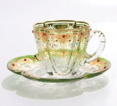 """144: Lot of two pieces 19th Century glass signed """"Moser : Lot 144"""