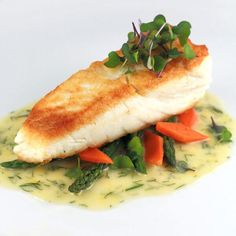 Golden pan seared halibut with a creamy lemon dill sauce. Tender halibut filets are sauteed and served with a luscious French lemon dill beurre blanc sauce. Seafood Dishes, Seafood Recipes, Cooking Recipes, Healthy Recipes, Cooking Tools, Kid Cooking, Skillet Recipes, Cooking Videos, Easy Recipes