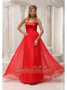 Sequined Up Bodice Sweetheart Neckline Red Chiffon and Floor-length Prom / Evening Dress For 2013- $126.46  http://www.fashionos.com  sleeveless prom dress with ruching | prom dress for cheap | floor length prom dress | prom dress for homecoming | pretty prom dress ready to ship | prom dress for 2013spring |