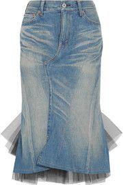 Junya WatanabeDenim and tulle midi skirt