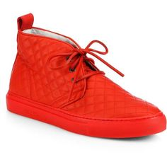 Del Toro Quilted Leather Chukka Sneakers ($365) ❤ liked on Polyvore featuring men's fashion, men's shoes, men's sneakers, apparel & accessories, red, mens red shoes, mens red sneakers, mens chukka sneakers and mens lace up shoes