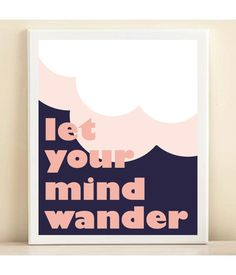 Tory Burch Inspired. Pink & Navy Let Your Mind Wander print poster