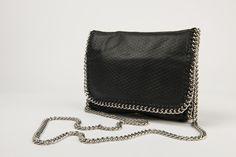 JAMS ALEXANDER Chain Handbag Black Leather with Snake Imprint $134.95
