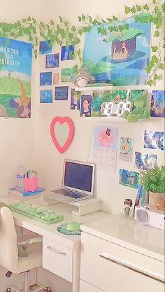 Indie Room Decor, Cute Bedroom Decor, Room Design Bedroom, Aesthetic Room Decor, Room Ideas Bedroom, Bedroom Inspo, Otaku Room, Study Room Decor, Pastel Room