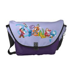 Disney Logo Mickey and Friends Courier Bag , Disney Logo, Disney Mickey, Cool Messenger Bags, Kids Logo, Mickey And Friends, Lilo And Stitch, Disney Style, Colorful Interiors, Bag Making
