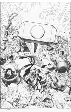 "All New Thor by Arthur Adams I'm not part of the ""wha. F* Thor fans- I… Comic Book Pages, Comic Book Artists, Comic Book Characters, Comic Artist, Comic Books Art, Artist Art, Marvel Characters, Marvel Comics, Bd Comics"