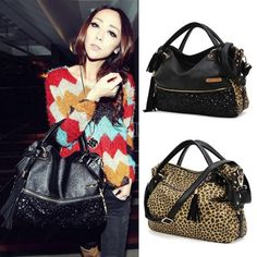 hot! 2014 New Europe Style Vintage retro Leopard Print Bags Shoulder Handbag Womens Handbag Leather Messenger Bag b4 SV001570