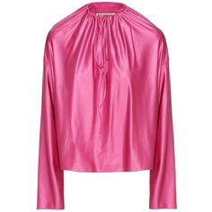 Balenciaga Satin Blouse (€785) ❤ liked on Polyvore featuring tops, blouses, pink, balenciaga, pink satin blouse, satin blouse, pink satin top and pink top