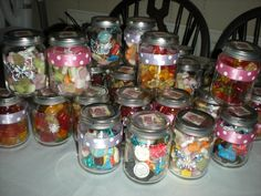 Got this idea from Pinterest and this is my take on it...birthday party favours for guests celebrating Micki's 1st birthday. Baby food jars + sweets, takes longer than you think to get the glue off the sides, and buy more sweets than you think as I had to improvise with ones left over from other things as well as the ones specifically bought for this!!