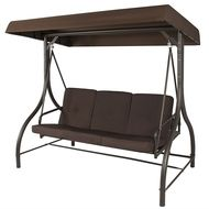 Brown 3 Person Outdoor Porch Swing With Canopy Patio Deck Furniture Porch Swing With Canopy Porch Swing