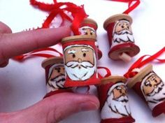 Perfect gifts for your co-workers or teachers at Christmas!    This adorable old wooden spool has been repurposed as a Santa ornament. My
