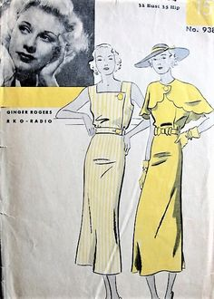 1930s GORGEOUS Art Deco Dress and Cape Pattern HOLLYWOOD 938 Featuring Movie Star Ginger Rogers Day or Evening B 32 Vintage Sewing Pattern Vintage Dress Patterns, Vintage Dresses, Vintage Outfits, Vintage Shoes, Clothing Patterns, Vintage Clothing, Madame Gres, 1930s Fashion, Retro Fashion