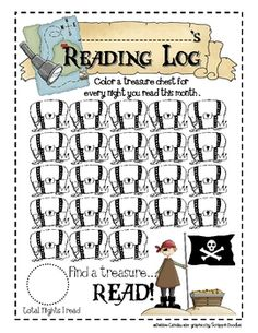 Use this pirate log to have students record nightly reading for the month. ...