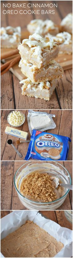 These delicious cookie bars use Cinnamon Oreos and are NO bake! They are so rich and good - your family will ask you to make them again and again. via (oreo dessert ideas) No Bake Treats, No Bake Desserts, Yummy Treats, Delicious Desserts, Sweet Treats, Dessert Recipes, Oreo Desserts, Baking Desserts, Sweet Desserts