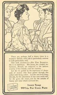 1906 Ivory Soap Print Ad Woman Receives Visitors Who are Judging Her ..thank goodness for Ivory!