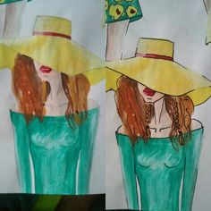 #fashion #illustration #fashionillustration #fashionillustrator #draw #drawing #paint #painting #girl #hat #yellow #yellowhat #style #stylist #green #design #designer #fashiondesign #fashiondesigner