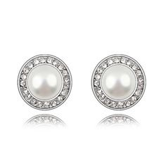 Lovely Simulated Pearl Stud Earrings With Rhinestone; $15.00; Style No.: LJE00017