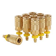 Wynnsky Air Compressor Fittings I M Type Push On And Lock Brass Air Coupler With 1 4 Hose Barb 10 Piece Air Hose Quick Connect Kit Wynnsky Compressor Fi