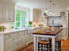 Calypso In The Country: Kitchen Layout Inspiration and a Question Custom Kitchens, Cool Kitchens, White Kitchens, Country Kitchens, New Kitchen, Kitchen Decor, Kitchen Ideas, Kitchen Layouts, Kitchen Designs
