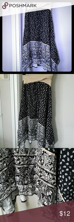 Motherhood Maternity Asymetrical Skirt Size Small Beautiful black and white maternity skirt. Paisley pattern with asymmetrical edge. Very light and comfortable. Perfect for spring or summer. EUC.  Smoke-free home. Open to all reasonable offers ❤ Motherhood Maternity Skirts Asymmetrical