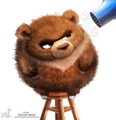 Daily Painting Frizzly Bear by Cryptid-Creations on DeviantArt Illustration Art Dessin, Illustration Mignonne, Cute Animal Illustration, Cute Animal Drawings, Character Illustration, Cute Drawings, Art D'ours, Cartoon Mignon, Art Mignon