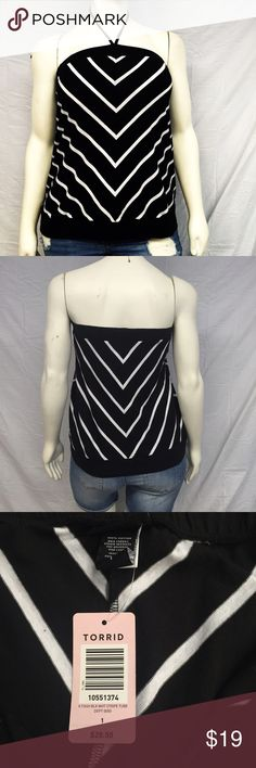Torrid Halter Tube Top 0X, 4X, 5X Torrid diagonal stripe halter tube top. Spaghetti strap halter tie. Band at the top and the bottom. New with tags, never worn. Smoke and pet free home. No damage, perfect condition. Stretchy. Measurements taken laid flat. 1X: 17 1/2 inch top band. 18 inch bust. 21 inch natural waist. 21 1/2 inch bottom band. 21 inches long. 2X: 18 inch top band. 20 inch bust. 22 inch natural waist. 23 1/2 inch bottom band. 21 inches long. 100% cotton. torrid Tops Tank Tops