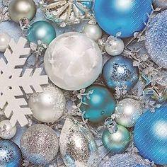 Stewo Paper Napkins Serviette Blue White Silver Bauble Pk 20 Christmas Xmas