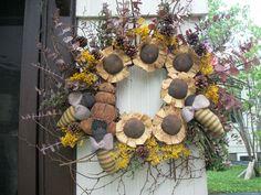 "Primitive Summer Fall ""Sun Flower Bee Skep Beestwig Wreath | eBay"