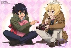 """artbooksnat: """"Seraph of the End (終わりのセラフ)Yuu and Mika share a Valentine's Day box of chocolates in the poster from the February issue of Animedia Magazine (Amazon US 