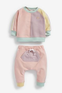 Multi Pastel Colourblock Sweatshirt And Joggers Set (0mths-2yrs) Pastel, Toddler Outfits, Kids Outfits, Baby Outfits, Joggers Outfit, London Spring, Little Boy And Girl, Baby Jogger, Next Uk