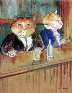 """At the Bar"" (Henri de Toulouse-Lautrec) by Susan Herbert from ""Impressionist Cats"""