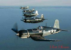Corsair flight at Oshkosh Ww2 Aircraft, Fighter Aircraft, Military Aircraft, Us Marines, Fighter Pilot, Fighter Jets, Black Sheep Squadron, War Jet, Fixed Wing Aircraft