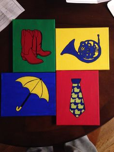 How I Met Your Mother DIY Canvas Art HIMYM blue french horn, red cowboy boots, yellow umbrella, ducky tie