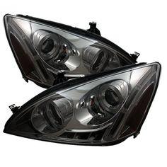 Spyder Auto 444-HA03-AM-SM | 2005 Honda Accord Smoke Halo LED Projector Headlights for Coupe/Sedan/Hatchback/Wagon