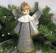 Vintage Christmas Tree topper Silver Angel Made in Japan