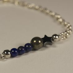 Jasmine Bar Bracelet - Pyrite, Lapis, Hematite Star. Limited Edition Jewellery Handmade in New Zealand. $19.00NZD www.theothermrsbell.com